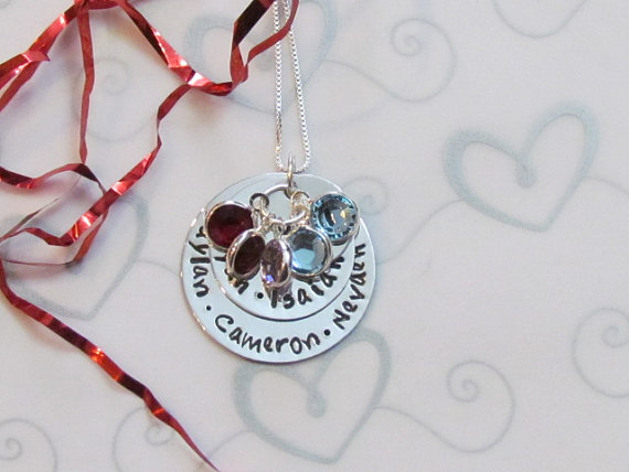 GRANDMOTHERS LOVE -- Personalized with grandchildren's names & swarovski birthstones