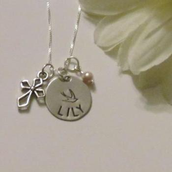 Silver Cross Necklace - 1st Communion - Baptism Jewelry