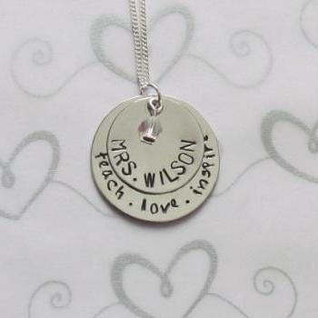 TEACHER NECKLACE -Personalized Jewelry - Teach Love Inspire