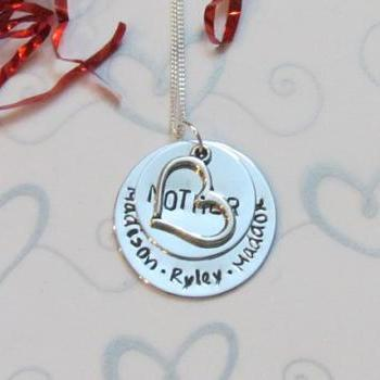 MOTHERS HEART -Hand stamped Necklace - Mothers Necklace-Personalized Jewelry- present gift box