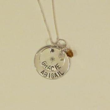 MOTHERS Necklace - DANDELION Hand stamped Necklace - Stacked Mommy Necklace- GIft box included